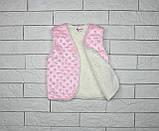 Утепленная жилетка розовым цветом на кнопках для девочки, фото 3