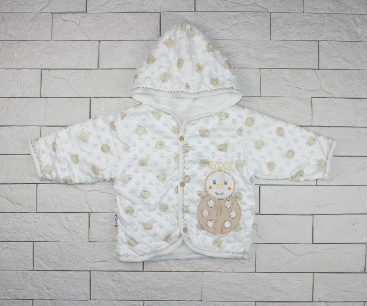 Утепленная кофта на кнопках с капюшоном для ребенка