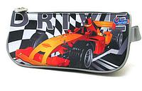 Пенал треугольный с одной змейкой Racing car. Пенал школьный. Пенал школьный мягкий.