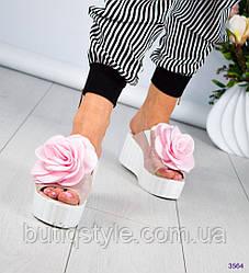 36 размер! Женские шлепанцы пудра на платформе с цветком, натур.кожа