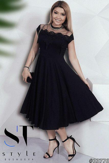 96ba26c788f Утонченное женское платье с юбкой клеш Размер  48-50