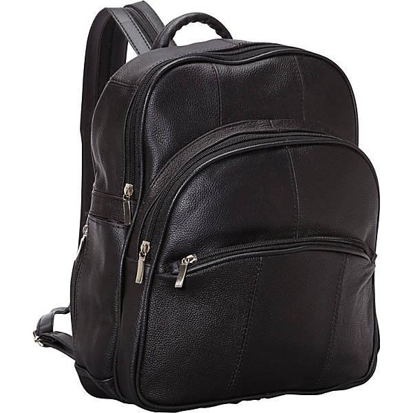 Рюкзак кожаный R & R Collections Leather Triple Zip Around Large Backpack (Black)