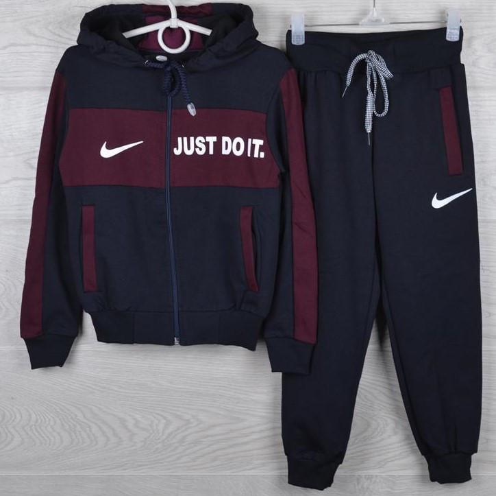 "Спортивный костюм подростковый ""Nike реплика"" 7-12 лет. Темно-синий+бордо. Оптом"