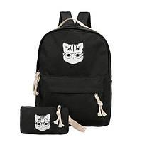 Черный рюкзак с пеналом Кот в очках ( модный рюкзак )
