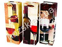 Пакет подарочный бумажный под бутылку 208 36*12см