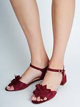 Босоножки женские кожаные бордового цвета Rylko (Босоніжки жіночі шкіряні  бордового кольору) 3MFA4    KL 99f6ce41d316c