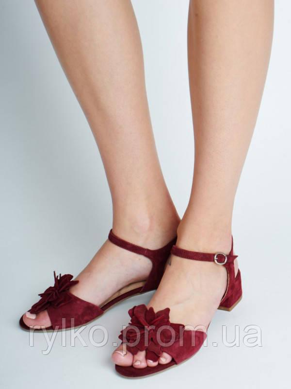 Босоножки женские кожаные бордового цвета Rylko (Босоніжки жіночі шкіряні  бордового кольору) 3MFA4    KL ac7e8befec88c
