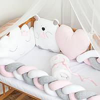 """Бортики в детскую кроватку """"Белый мишка"""", сатин"""