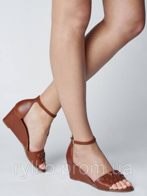 c61583ff1 Босоножки женские кожаные коричневого цвета Rylko (Босоніжки жіночі шкіряні  коричневого кольору) 5DBC5_K_ _ZK2 -