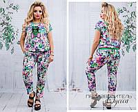 Женский летний костюм из штапеля, яркий, модный, двойка блуза+ штаны. Большого размера р-48-50,52-54,56