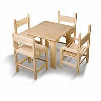 Деревянный комплект: детский стол и стул сосновый (столик + 4 стула) ТМ SportBaby <<Baby-4>>