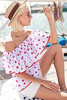 Блуза летняя хлопковая с открытыми плечами и воланом в звездах Bdi243, фото 1