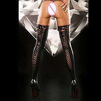 Сексуальные латексные чулки на шнуровке