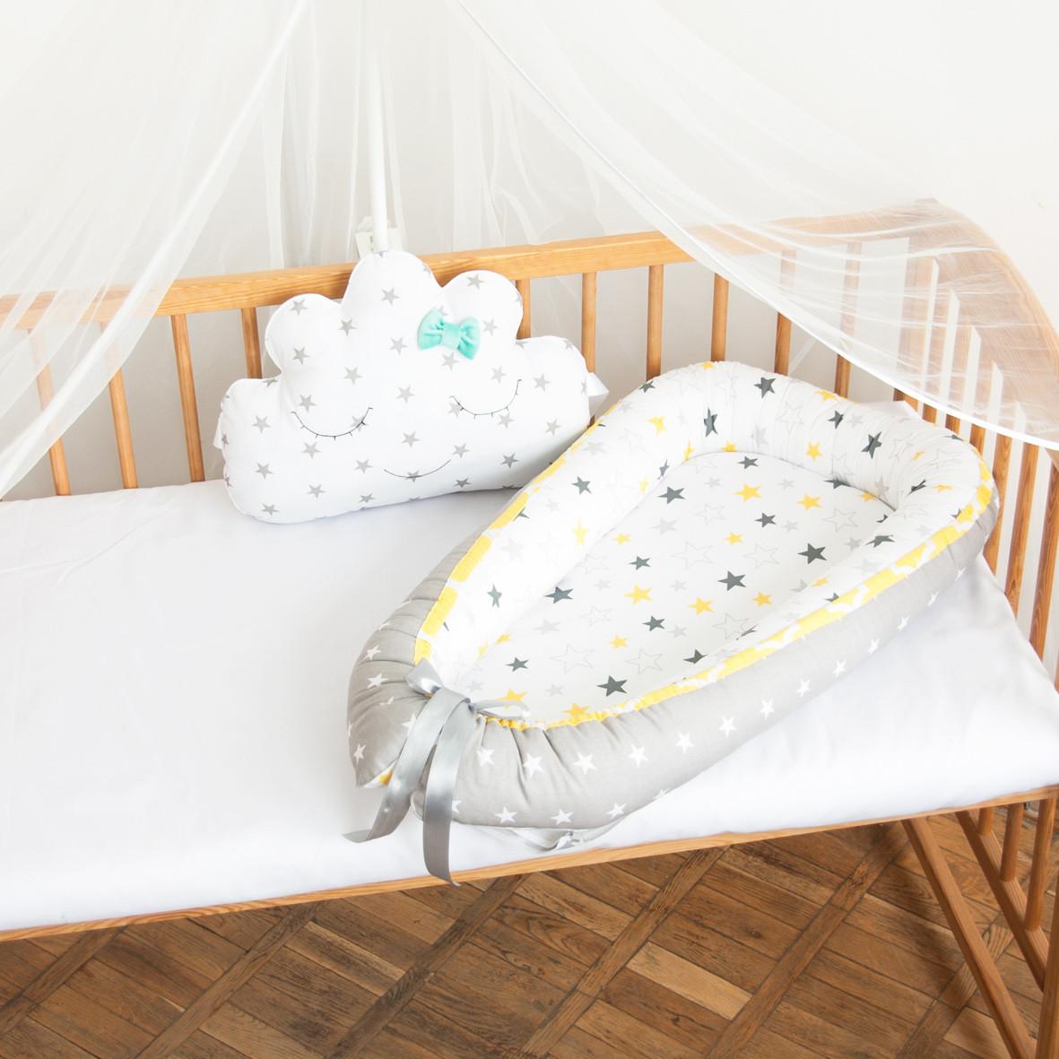 """Гнездышко-кокон для новорожденных """"Желтая окантовка"""""""