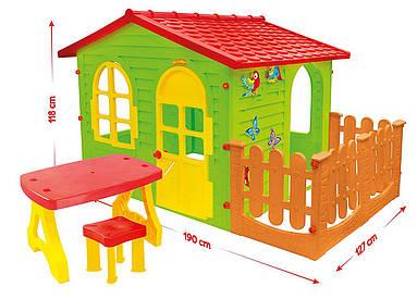 Большой детский домик со столиком и стульчиком