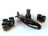 Подлодка - подарочная бутылка в виде подводной лодки в комплекте с рюмками