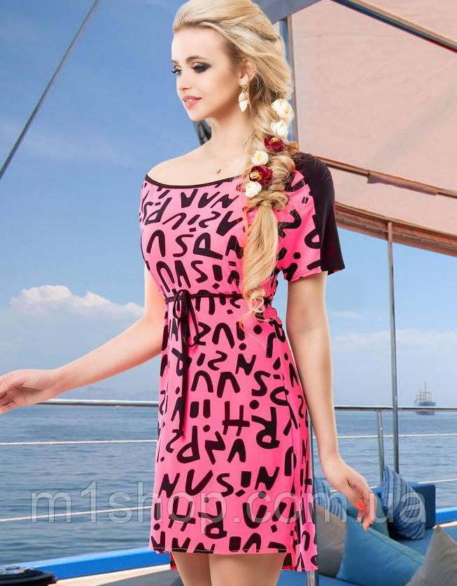 Женское летнее платье-туника с буквенным принтом (1427-1426 svt)