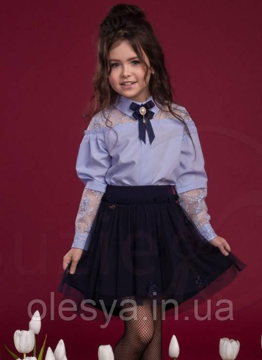 Шикарная школьная блузка Suzie Альба, цвет голубой Размер 140