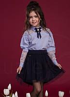 Шикарная школьная блузка Suzie Альба, цвет голубой Размеры 134- 158