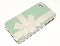 Чехол для iPhone 4 / 4s пластиковый с рисунком бант tiffany зеленый