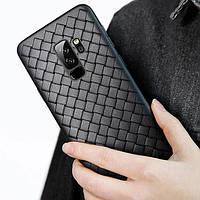"""Силиконовая накладка чехол """"Плетенка"""" для OnePlus 6 черный"""