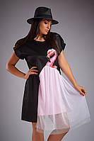 """Летнее платье """"Фламинго"""" Likara большого размера / трикотаж / Украина 32-709, фото 1"""