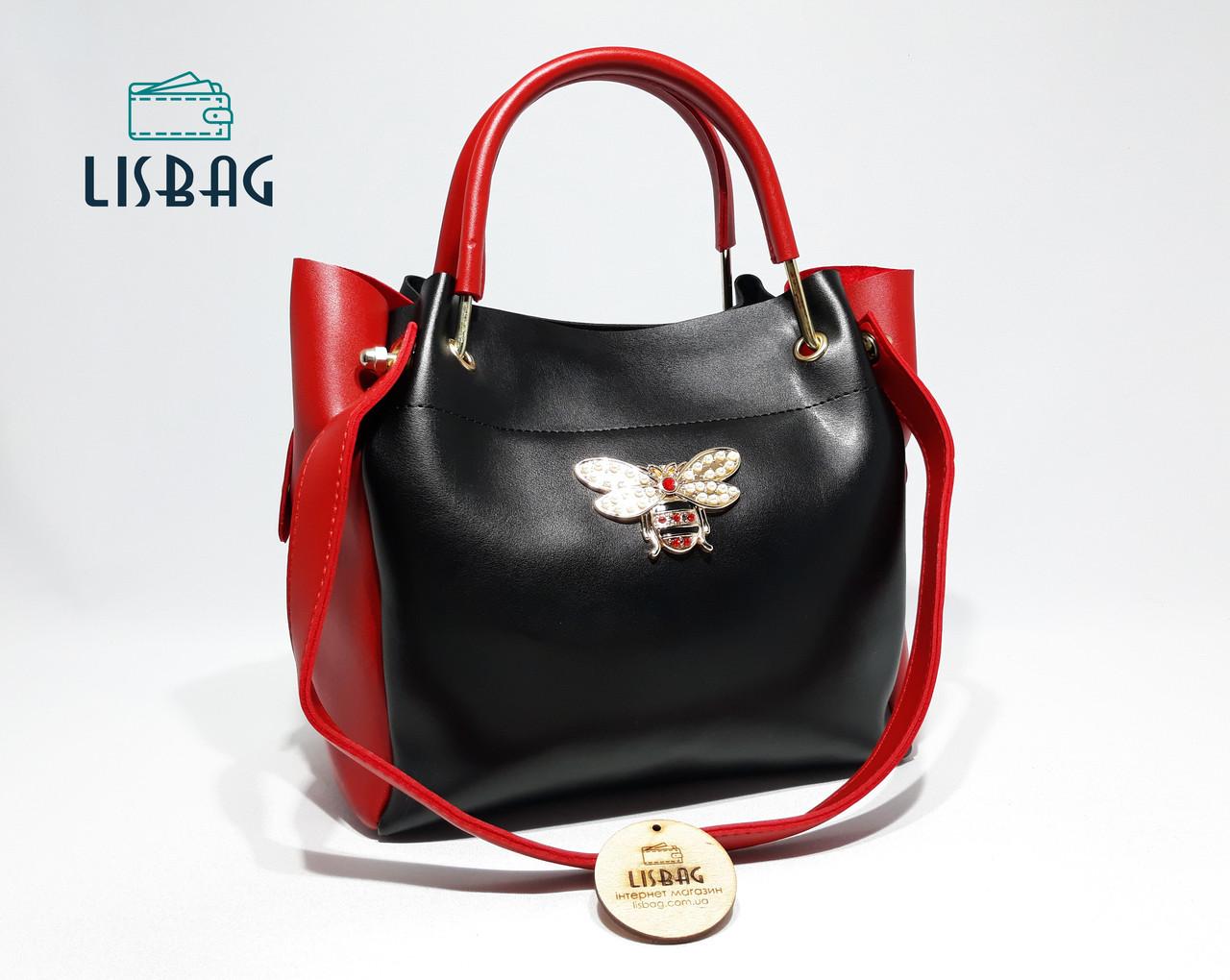 Молодежная стильная вместительная сумка Gucci копия Черная с красным тренд  2018 года 929b85fcdf7