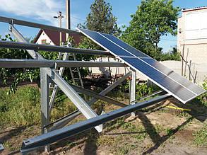 монтаж солнечных панелей на наземные столы (фермы)
