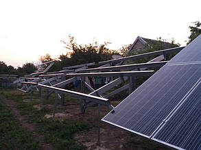 установка солнечных панелей на наземные столы (фермы)