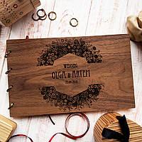 """Свадебная книга для поздравлений и пожеланий с деревянной обложкой """"Большой Венок"""", фото 1"""