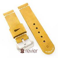Ремешок для наручных часов Revier ручной работы с натуральной итальянской кожи желтого цвета 22, 24, 26мм