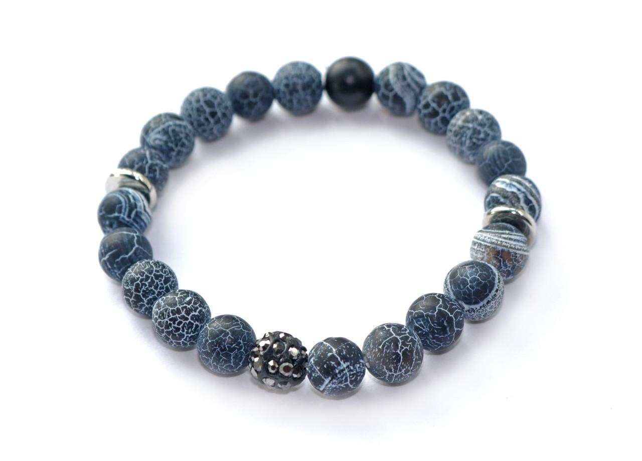 Браслет из натурального камня матовый синий морозный агат со стразами