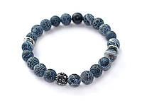 Браслет из натурального камня матовый синий морозный агат со стразами, фото 1