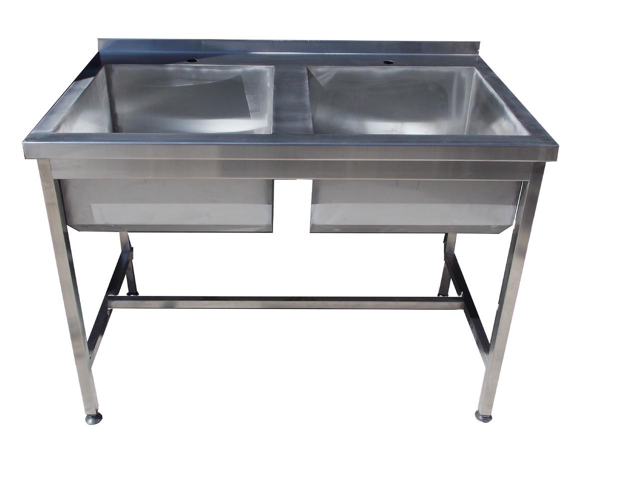 Ванна моечная 2-х секционная с бортом  1200х600х850