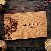 """Свадебная книга для поздравлений и пожеланий с деревянной обложкой """"Дерево"""""""