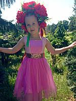 Нарядне плаття для дівчинки з гарним золотим поясом-бантом, фото 1