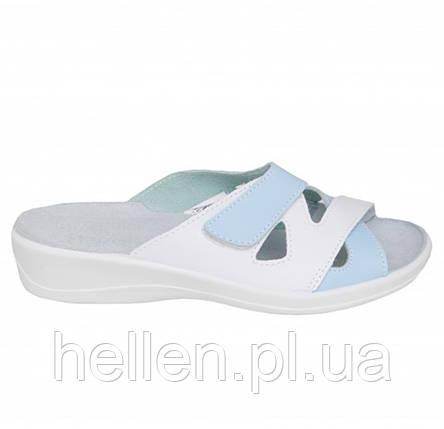 44c80dbf0cfccf Жіноче шкіряне медичне взуття Сабо Лєра, комбіновані /білі/голубі/відкриті/Флоаре