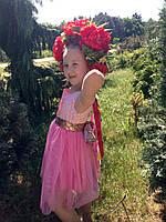 Нарядное платье для девочки с красивым золотоым поясом-бантом, фото 1