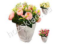 """Искусственные цветы в горшке """"Розы в мешочке"""" 20*18см"""