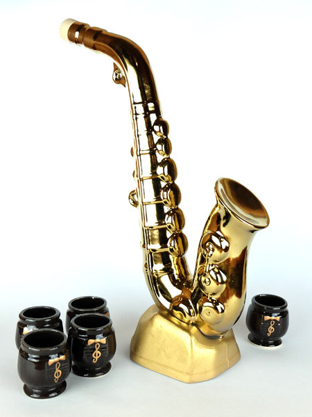 Саксофон «золотой» - оригинальный набор для спиртного с рюмками