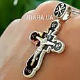 Серебряный Крест с черной эмалью и распятием, фото 6