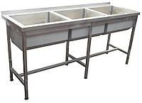 Ванна моечная 3-х секционная с бортом  1800х600х850