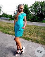 Платье голубое с бантом и пуговицами на спинке