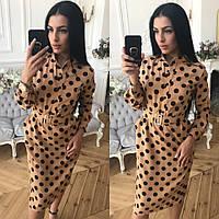Платье футляр в горошек миди разные цвета Sml2495