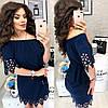 Платье с перфорацией спущенное на плечи  / 9 цветов  арт 6033-476, фото 3
