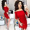 Платье с перфорацией спущенное на плечи  / 9 цветов  арт 6033-476, фото 9