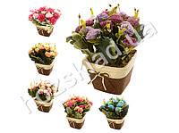 """Искусственные цветы в горшке """"Гвоздики в корзинке"""" 14*14*26cм"""