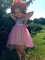 Нарядне плаття для дівчинки з золотими паєтками, фото 1