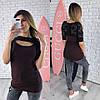 Трикотажная женская туника с кружевом и вырезом-каплей 65KF354