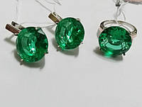 Комплект серебряный Круг с золотом и ярко зеленым камнем